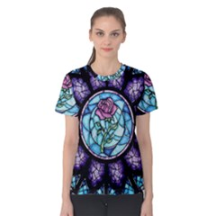 Cathedral Rosette Stained Glass Beauty And The Beast Women s Cotton Tee