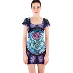 Cathedral Rosette Stained Glass Beauty And The Beast Short Sleeve Bodycon Dress by Sudhe