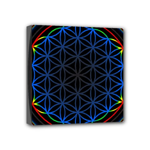 Flower Of Life Mini Canvas 4  X 4  (stretched)