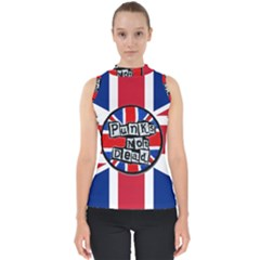 Punk Not Dead Music Rock Uk United Kingdom Flag Mock Neck Shell Top