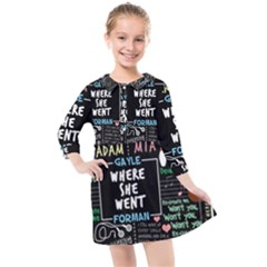 Book Quote Collage Kids  Quarter Sleeve Shirt Dress