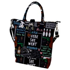Book Quote Collage Buckle Top Tote Bag