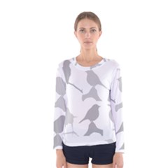 Bird Watching   Greyscale Women s Long Sleeve Tee