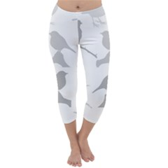 Bird Watching   Greyscale Capri Winter Leggings