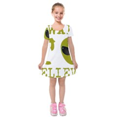 I Want To Believe Kids  Short Sleeve Velvet Dress by Sudhe