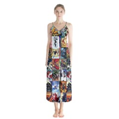 Comic Book Images Button Up Chiffon Maxi Dress
