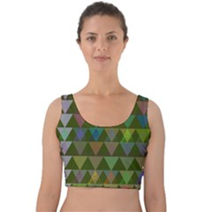 Zappwaits Triangles 2 Velvet Crop Top