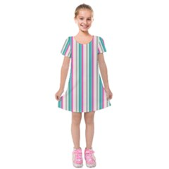 Candy Stripes 1 Kids  Short Sleeve Velvet Dress by retrotoomoderndesigns