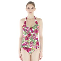 Red Flowers Halter Swimsuit by goljakoff