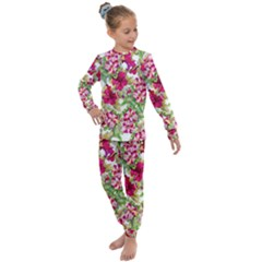 Red Flowers Kids  Long Sleeve Set  by goljakoff