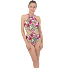 Red Flowers Halter Side Cut Swimsuit