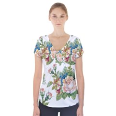 Summer Flowers Pattern Short Sleeve Front Detail Top by goljakoff