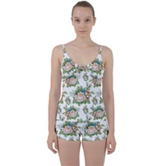 Summer Flowers Pattern Tie Front Two Piece Tankini