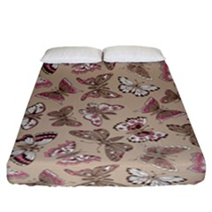 Rose Butterflies Pattern Fitted Sheet (king Size) by goljakoff
