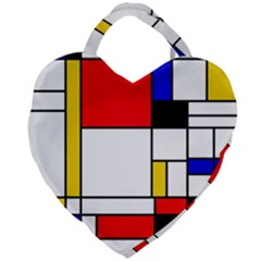 Bauhouse Mondrian Style Giant Heart Shaped Tote