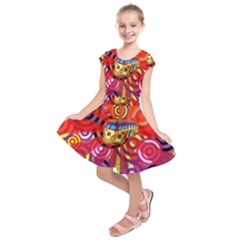Boho Hippie Bus Kids  Short Sleeve Dress by lucia