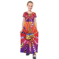 Boho Hippie Bus Kids  Short Sleeve Maxi Dress by lucia
