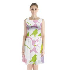 Bird Watching   Colorful Pastel Sleeveless Waist Tie Chiffon Dress