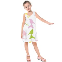 Bird Watching   Colorful Pastel Kids  Sleeveless Dress