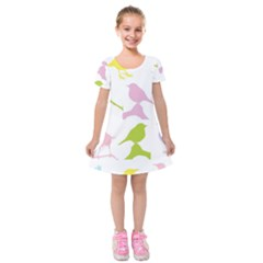 Bird Watching   Colorful Pastel Kids  Short Sleeve Velvet Dress