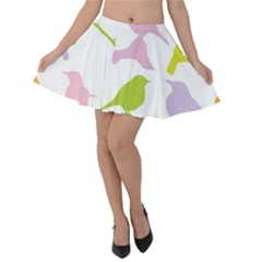 Bird Watching   Colorful Pastel Velvet Skater Skirt