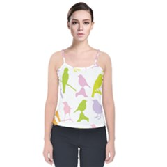 Bird Watching   Colorful Pastel Velvet Spaghetti Strap Top