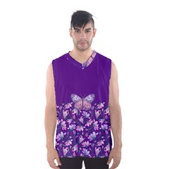 Purple Spring Butterfly Men s Basketball Tank Top