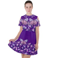 Purple Spring Butterfly Short Sleeve Shoulder Cut Out Dress