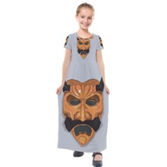 Mask India South Culture Kids  Short Sleeve Maxi Dress