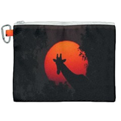 Giraffe Animal Africa Sunset Canvas Cosmetic Bag (xxl)