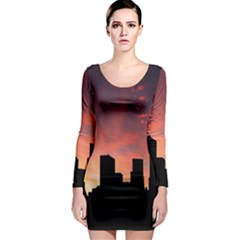 Skyline Panoramic City Architecture Long Sleeve Bodycon Dress
