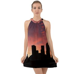 Skyline Panoramic City Architecture Halter Tie Back Chiffon Dress by Sudhe
