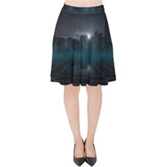 Skyline Night Star Sky Moon Sickle Velvet High Waist Skirt