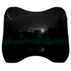 Skyline Night Star Sky Moon Sickle Velour Head Support Cushion