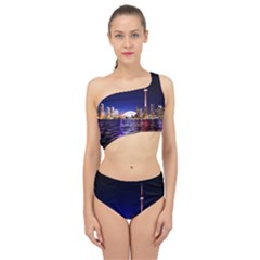 Toronto City Cn Tower Skydome Spliced Up Two Piece Swimsuit