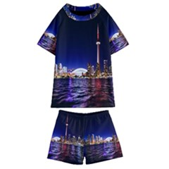 Toronto City Cn Tower Skydome Kids  Swim Tee And Shorts Set by Sudhe
