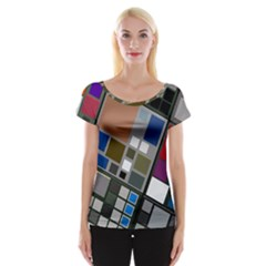 Abstract Composition Cap Sleeve Top