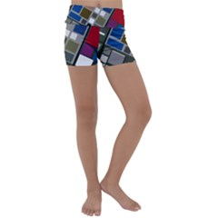Abstract Composition Kids  Lightweight Velour Yoga Shorts