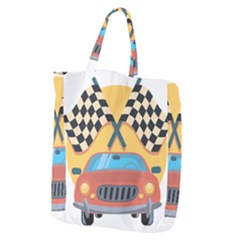 Automobile Car Checkered Drive Giant Grocery Tote