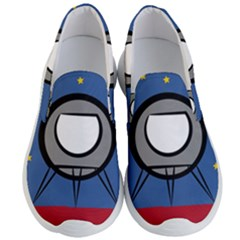A Rocket Ship Sits On A Red Planet With Gold Stars In The Background Men s Lightweight Slip Ons