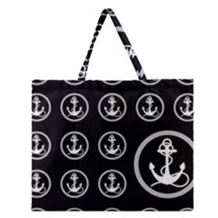 Anchor Pattern Zipper Large Tote Bag