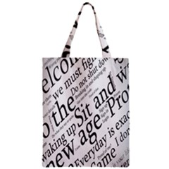 Abstract Minimalistic Text Typography Grayscale Focused Into Newspaper Zipper Classic Tote Bag by Sudhe