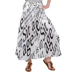 Abstract Minimalistic Text Typography Grayscale Focused Into Newspaper Satin Palazzo Pants by Sudhe