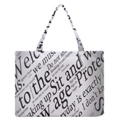 Abstract Minimalistic Text Typography Grayscale Focused Into Newspaper Zipper Medium Tote Bag by Sudhe