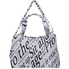Abstract Minimalistic Text Typography Grayscale Focused Into Newspaper Double Compartment Shoulder Bag