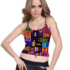 Abstract A Colorful Modern Illustration Spaghetti Strap Bra Top