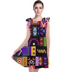 Abstract A Colorful Modern Illustration Tie Up Tunic Dress by Sudhe