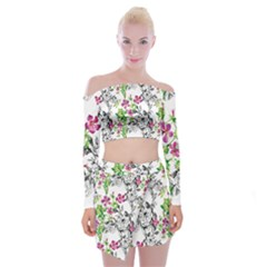 Drawing Flowers Off Shoulder Top With Mini Skirt Set