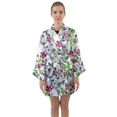 Drawing Flowers Long Sleeve Kimono Robe