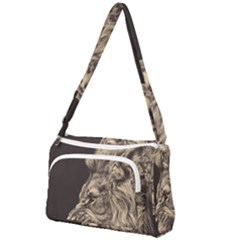 Angry Male Lion Front Pocket Crossbody Bag